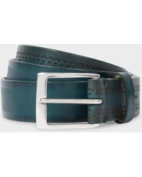 Paul Smith - Teal Embossed Pattern Leather Belt - Lyst