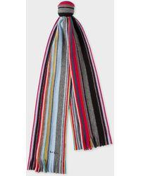 Paul Smith - Grey Fennel-Stripe Wool Scarf - Lyst