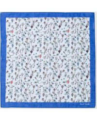 Paul Smith - Light Grey And Multi-Coloured Floral Print Pocket Square - Lyst