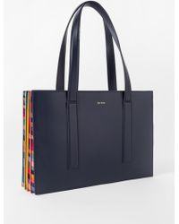 Paul Smith - Navy 'Concertina Swirl' Small Leather Tote Bag - Lyst