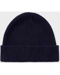 Paul Smith - Navy Cashmere-Blend Ribbed Beanie Hat - Lyst