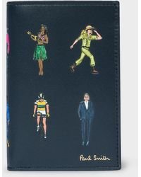 Paul Smith - Dark Navy 'People' Motif Leather Credit Card Wallet - Lyst