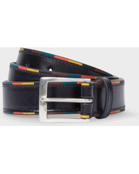 Paul Smith - Navy 'bright Stripe' Edge Leather Belt - Lyst