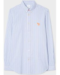 Paul Smith - Tailored-Fit Blue And White Embroidered 'Zebra' Broadcloth Cotton Shirt - Lyst