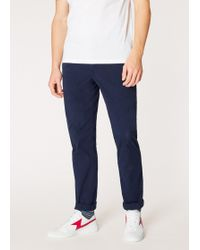 Paul Smith - Tapered-Fit Washed Navy Stretch Pima-Cotton Chinos - Lyst