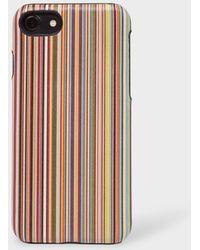 Paul Smith   Signature Stripe Motif Leather iPhone 7 Case   Lyst