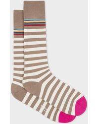 Paul Smith - Brown And Taupe Two-Stripe Socks - Lyst