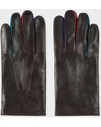 Paul Smith - Brown Leather Concertina Gloves - Lyst