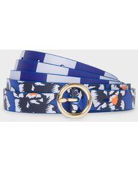 Paul Smith - Navy 'Hawaiian Floral' Stripe Leather Waist Belt - Lyst