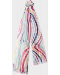 Paul Smith - 'hand-painted Swirl' Cotton Scarf - Lyst