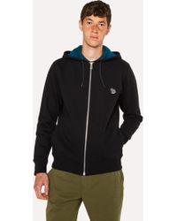 Paul Smith - Black Organic-Cotton Zip-Front Zebra Logo Hoodie - Lyst
