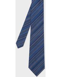 Paul Smith - Cravate Homme Bleu Marine 'Signature Stripe' En Soie - Lyst