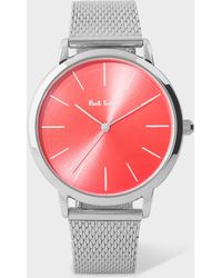 Paul Smith - Unisex Bright Red And Stainless Steel 'Ma' Watch - Lyst