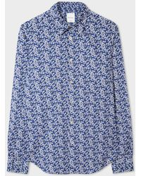 Paul Smith | Men's Slim-fit Navy 'cherry Blossom' Print Shirt | Lyst