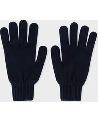 Paul Smith - Dark Navy Cashmere And Merino Wool Gloves - Lyst