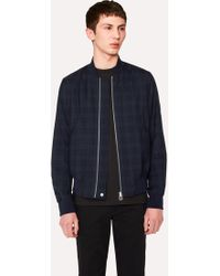 Paul Smith - Navy Wool Check Wadded Bomber Jacket - Lyst