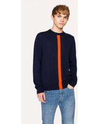 Paul Smith - Navy Wool Jumper with Orange Stripe - Lyst