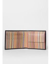 Paul Smith - Black Leather Signature Stripe Interior Billfold And Coin Wallet - Lyst