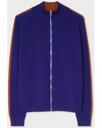 Paul Smith - Indigo Knitted Zip Cardigan With Rust Side Band - Lyst