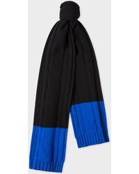 Paul Smith - Navy Cable-Knit Scarf With Contrasting Ends - Lyst