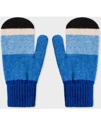 Paul Smith - Vintage Blue Stripe Wool Mittens - Lyst