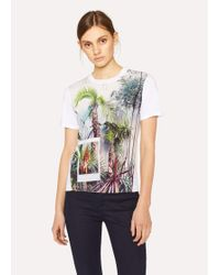 Paul Smith - White 'Tropical Tree' Print T-Shirt - Lyst