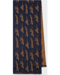 Paul Smith - Navy 'live Faster' Jacquard Scarf - Lyst