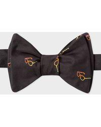 Paul Smith - Men's Black Embroidered 'sunglasses' Motif Self-tie Silk Bow Tie - Lyst