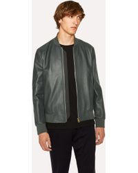Paul Smith - Dark Green Leather Bomber Jacket - Lyst