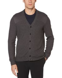 Lyst - Perry Ellis Velour Button Down Sweater in Black for Men 604461b06