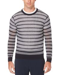 Perry Ellis - Long Sleeve Lightweight Stitched Sweater - Lyst