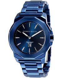 Perry Ellis - Unisex Decagon Navy Stainless Steel Watch - Lyst