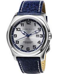 Perry Ellis - Memphis Navy Leather Watch - Lyst