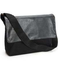 Perry Ellis | Leather And Canvas Messenger Bag | Lyst