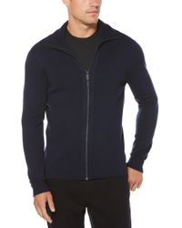 Perry Ellis - Solid Ribbed Full Zip Sweater - Lyst