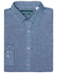 Perry Ellis - Big And Tall Linen Roll Sleeve Shirt - Lyst