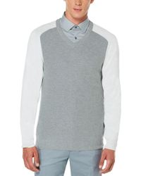 Perry Ellis | Colorblock V-neck Sweater | Lyst