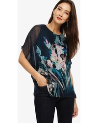 Phase Eight - Petrol Everly Floral Silk Blouse - Lyst