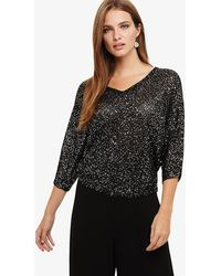 Phase Eight - Cristine Sequin V Neck Knitted Top - Lyst