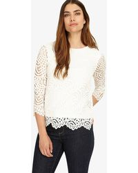 Phase Eight - 3/4 Sleeve Tessa Lace Top - Lyst