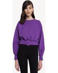 Pixie Market - Purple Belted Sweatshirt - Lyst