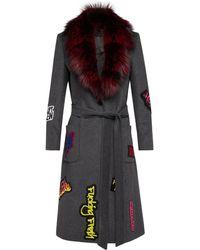Lyst - Elena Miro Fur Trim Hood Printed Coat in Blue dacd21095a7