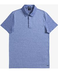 BOSS - 'platt 09' Square Detail Front Polo With Contrast Back & Collar Blue - Lyst