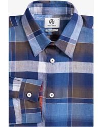 Paul Smith - Tailored Fit Large Check Shirt Navy And Brown - Lyst