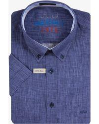 Paul & Shark - Luxury Linen Short Sleeved Shirt Mineral Blue - Lyst