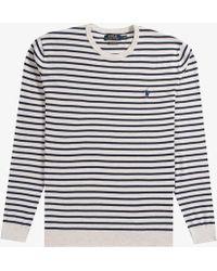 Ralph Lauren - Lightweight Crew Neck Knit Cream/navy - Lyst