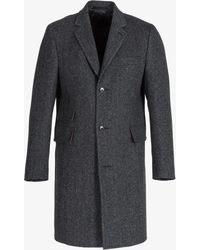 Paul Smith | Slim Fit Wool/cashmere Herringbone Overcoat With Bird Print Lining Grey | Lyst