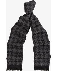 Canali - Houndstooth Lightweight Wool Scarf Black & Grey - Lyst