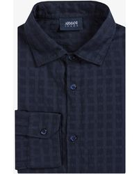 Armani Jeans - Searsucker Check Shirt Navy - Lyst