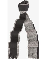 BOSS | 'fador' Melange Scarf With Single Stripe Grey/black | Lyst